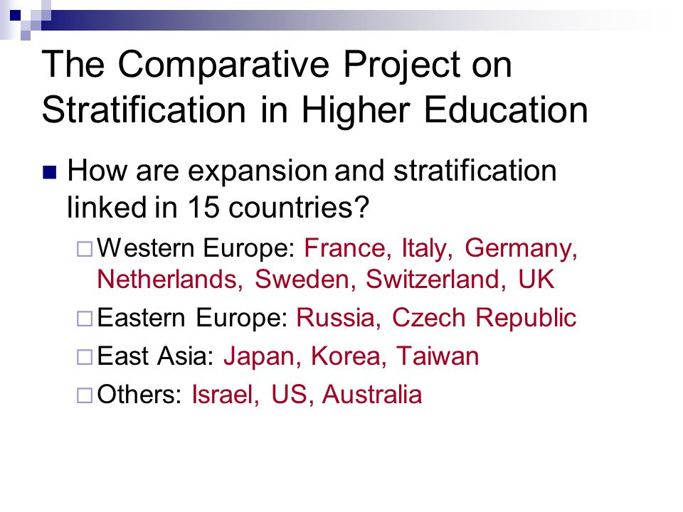 The Comparative Project on Stratification in Higher Education How are expansion and stratification linked in 15 countries.