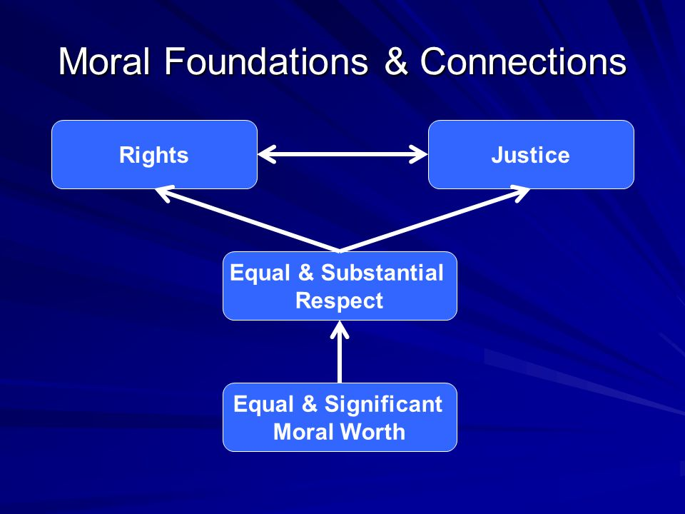 Moral Foundations & Connections RightsJustice Equal & Substantial Respect Equal & Significant Moral Worth