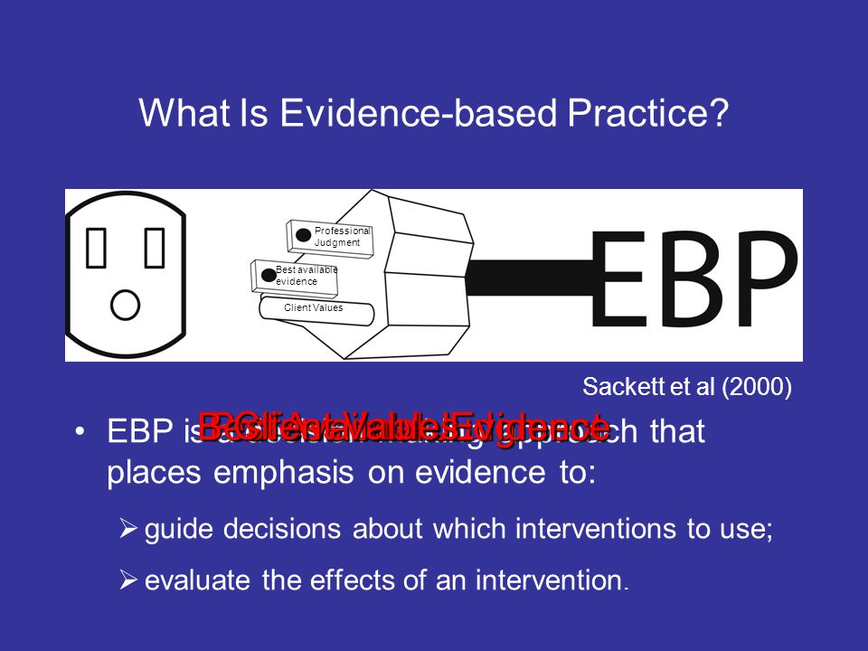 What Is Evidence-based Practice? EBP is a decision-making approach that places emphasis on evidence to: guide decisions about which interventions to u