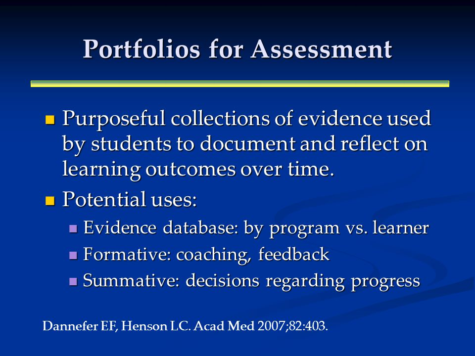 Portfolios for Assessment Purposeful collections of evidence used by students to document and reflect on learning outcomes over time.