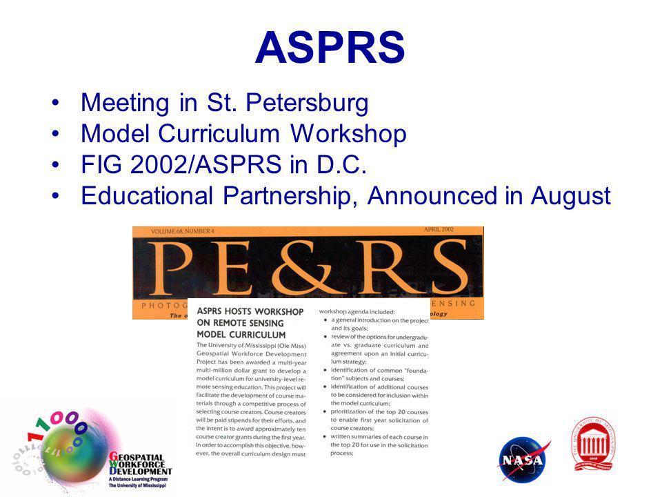 Meeting in St. Petersburg Model Curriculum Workshop FIG 2002/ASPRS in D.C. Educational Partnership, Announced in August ASPRS