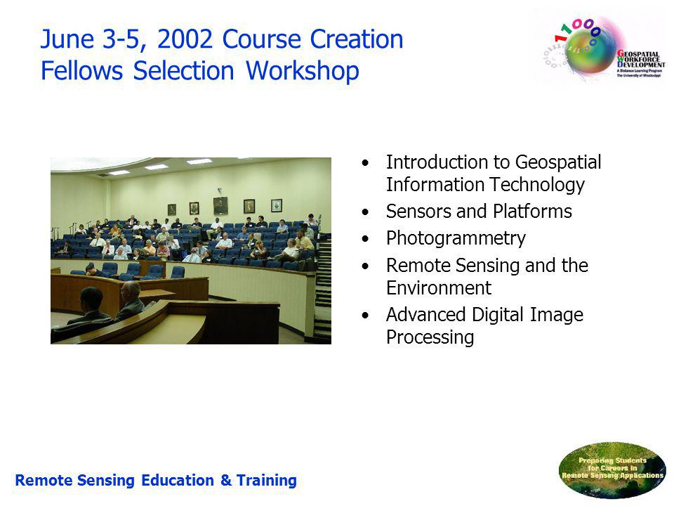 Introduction to Geospatial Information Technology Sensors and Platforms Photogrammetry Remote Sensing and the Environment Advanced Digital Image Proce