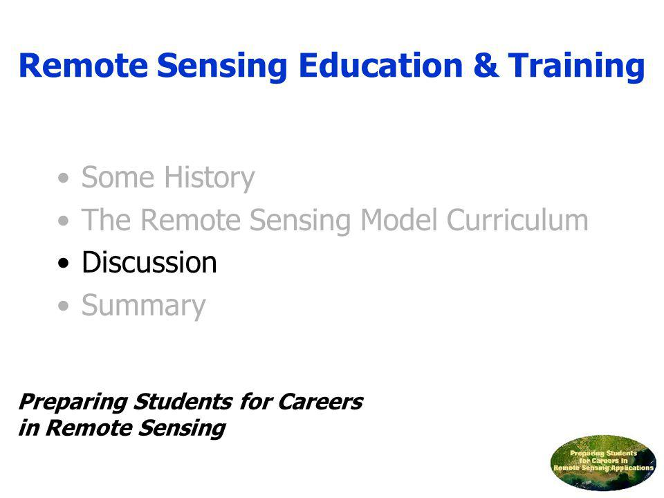 Some History The Remote Sensing Model Curriculum Discussion Summary Remote Sensing Education & Training Preparing Students for Careers in Remote Sensi