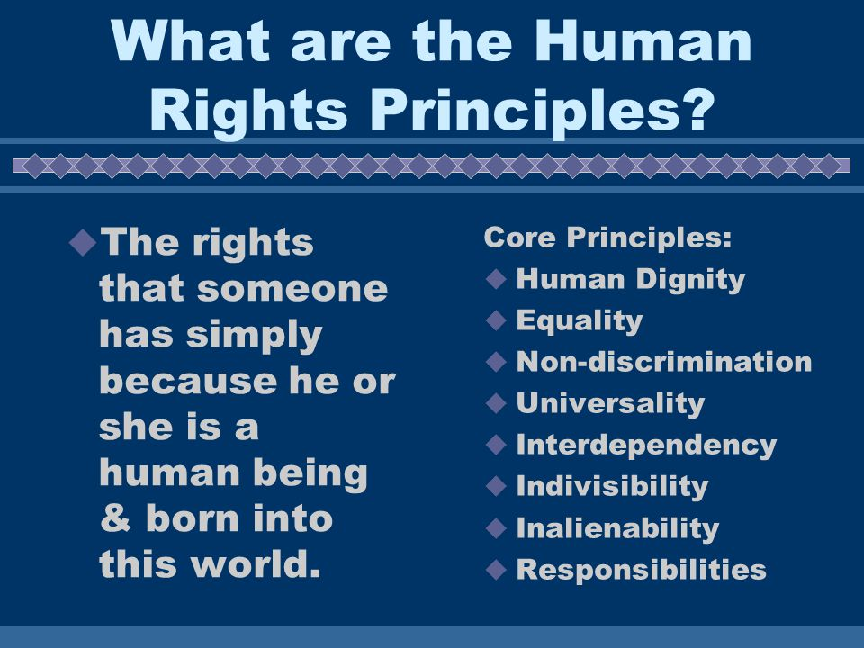 What are the Human Rights Principles.