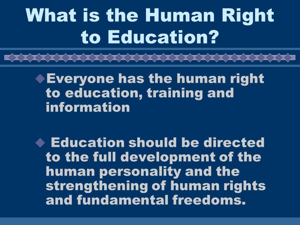 What is the Human Right to Education.