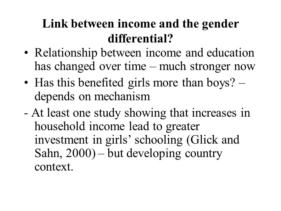 Link between income and the gender differential.