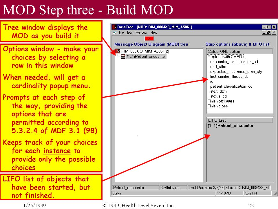 1/25/199922© 1999, Health Level Seven, Inc. MOD Step three - Build MOD Tree window displays the MOD as you build it Options window - make your choices