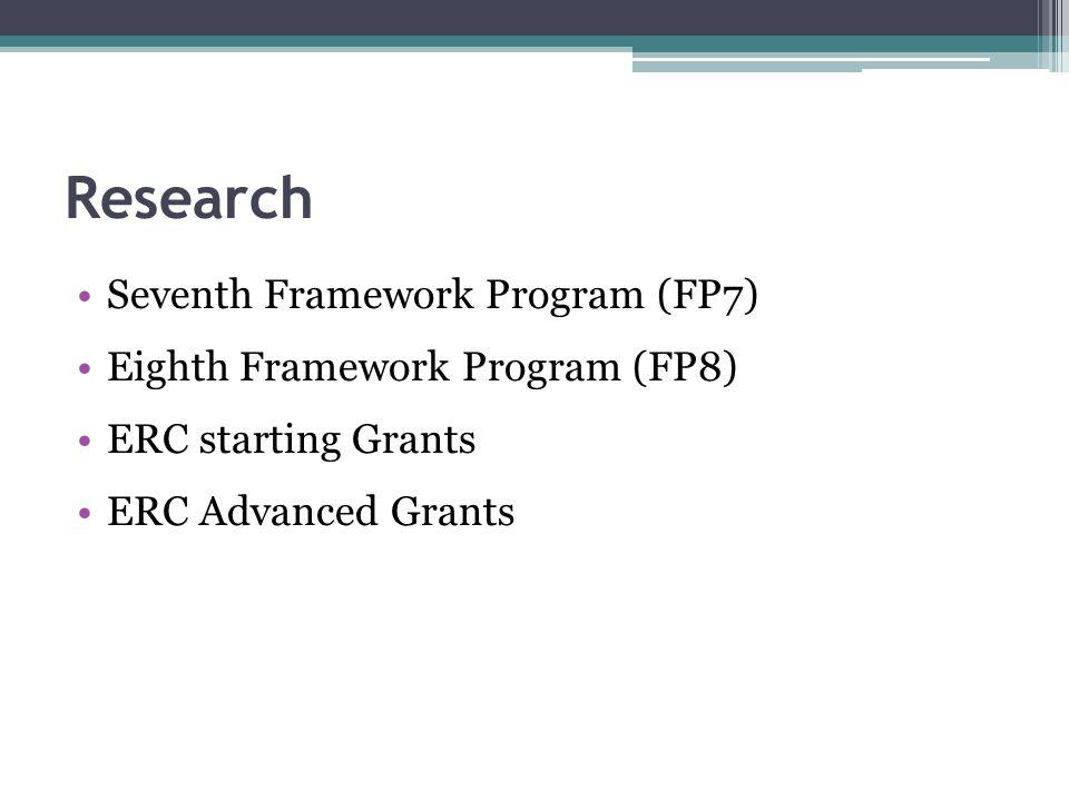 Research Seventh Framework Program (FP7) Eighth Framework Program (FP8) ERC starting Grants ERC Advanced Grants