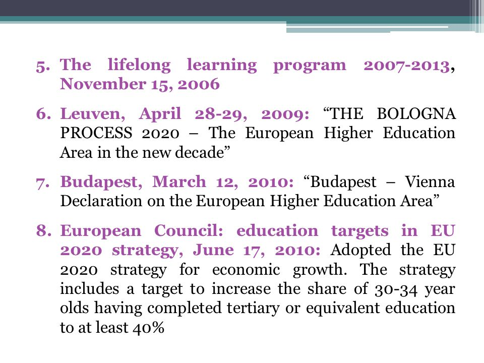OECD meetings Paris, April 2-4, 2001: Meeting of OECD Education Ministers, Investing in Competencies for All Dublin, March 18-19, 2004: Meeting of OECD Education Ministers, Raising the Quality of Learning for All Athens, June 27-28, 2006: Meeting of OECD Education Ministers, Higher Education: Quality, Equity and Efficiency Copenhagen, January 22-23, 2007: Informal Meeting of OECD Education Ministers on Vocational Education and Training