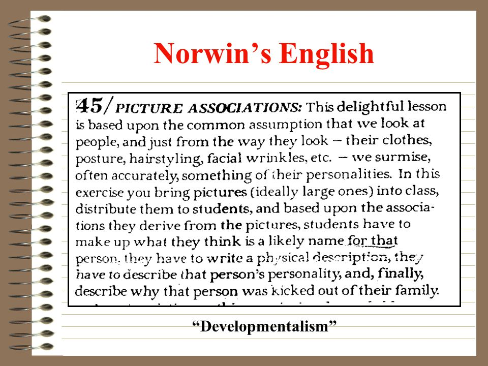 Norwins English Developmentalism
