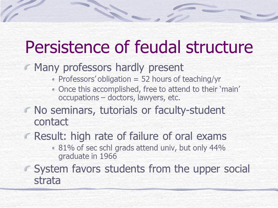 Persistence of feudal structure Many professors hardly present Professors obligation = 52 hours of teaching/yr Once this accomplished, free to attend to their main occupations – doctors, lawyers, etc.