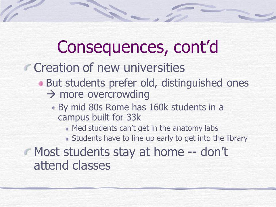 Consequences, contd Creation of new universities But students prefer old, distinguished ones more overcrowding By mid 80s Rome has 160k students in a campus built for 33k Med students cant get in the anatomy labs Students have to line up early to get into the library Most students stay at home -- dont attend classes