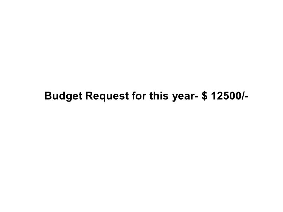 Budget Request for this year- $ 12500/-