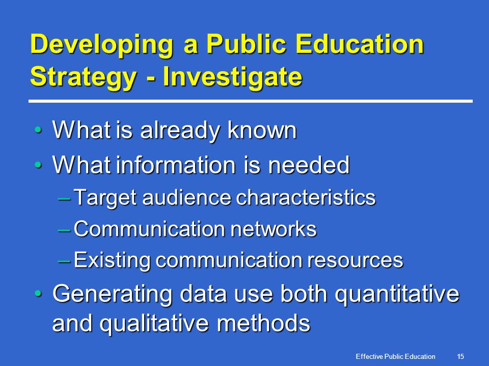 Effective Public Education15 Developing a Public Education Strategy - Investigate What is already knownWhat is already known What information is neede