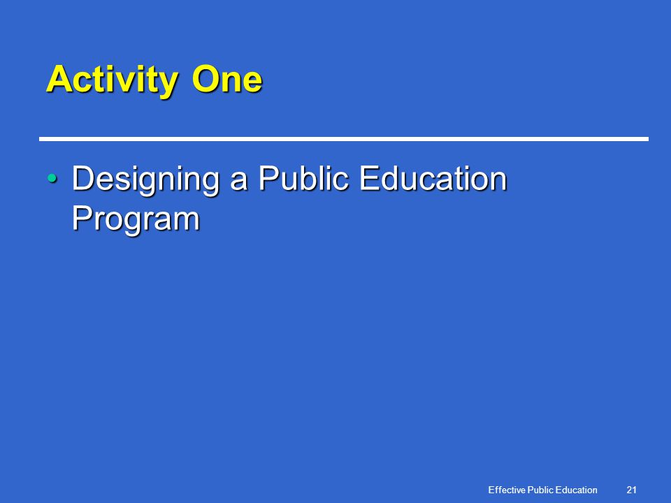 Effective Public Education21 Activity One Designing a Public Education ProgramDesigning a Public Education Program