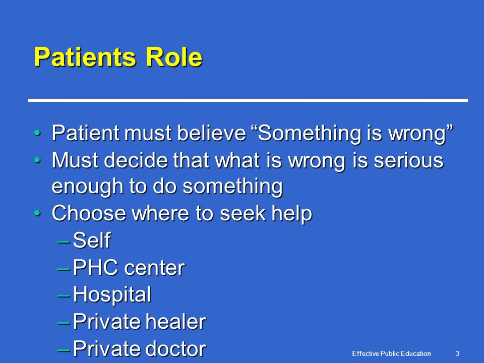 Effective Public Education3 Patients Role Patient must believe Something is wrongPatient must believe Something is wrong Must decide that what is wron