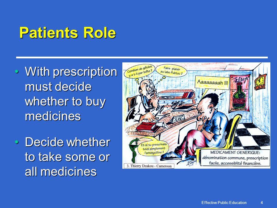 Effective Public Education5 Where Do Patients Get Medicines.