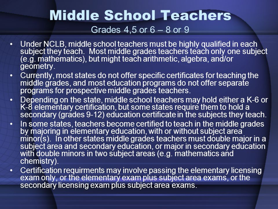 Middle School Teachers Grades 4,5 or 6 – 8 or 9 Under NCLB, middle school teachers must be highly qualified in each subject they teach.