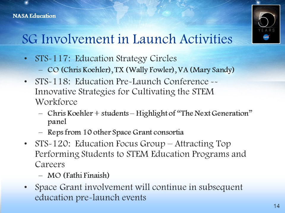 NASA Education 14 SG Involvement in Launch Activities STS-117: Education Strategy Circles –CO (Chris Koehler), TX (Wally Fowler), VA (Mary Sandy) STS-118: Education Pre-Launch Conference -- Innovative Strategies for Cultivating the STEM Workforce –Chris Koehler + students – Highlight of The Next Generation panel –Reps from 10 other Space Grant consortia STS-120: Education Focus Group – Attracting Top Performing Students to STEM Education Programs and Careers –MO (Fathi Finaish) Space Grant involvement will continue in subsequent education pre-launch events