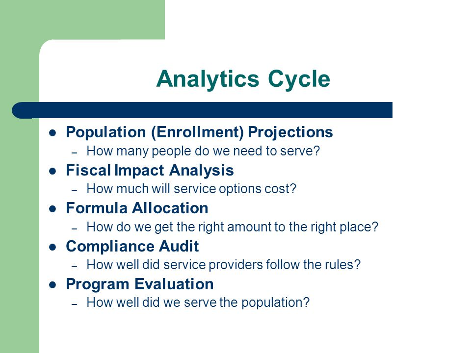Analytics Cycle Population (Enrollment) Projections – How many people do we need to serve.