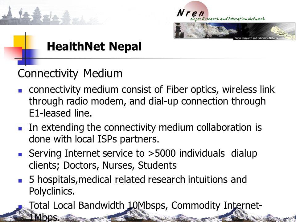 HealthNet Nepal Connectivity Medium connectivity medium consist of Fiber optics, wireless link through radio modem, and dial-up connection through E1-