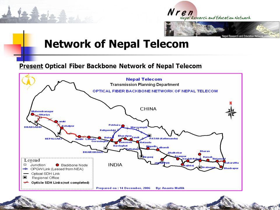 Network of Nepal Telecom Present Optical Fiber Backbone Network of Nepal Telecom