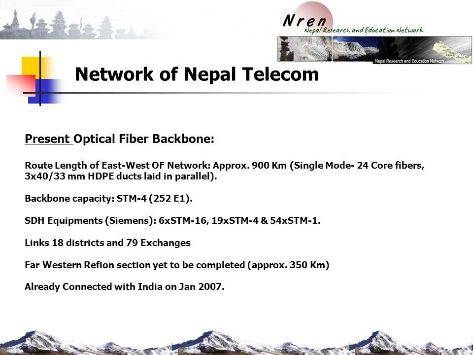 Network of Nepal Telecom Present Optical Fiber Backbone: Route Length of East-West OF Network: Approx. 900 Km (Single Mode- 24 Core fibers, 3x40/33 mm