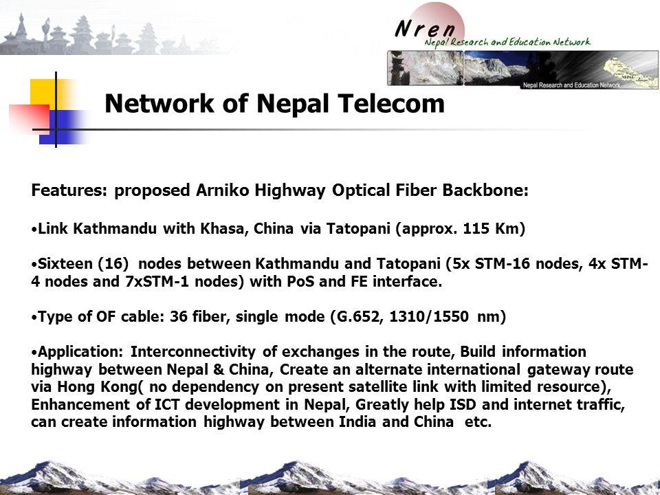 Network of Nepal Telecom Features: proposed Arniko Highway Optical Fiber Backbone: Link Kathmandu with Khasa, China via Tatopani (approx. 115 Km) Sixt