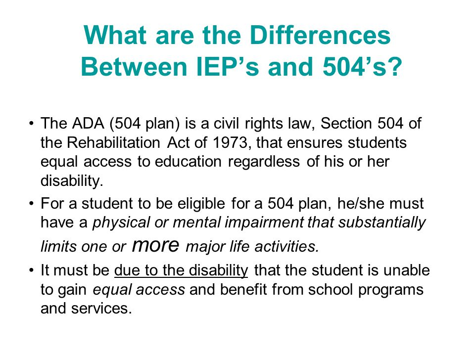 What are the Differences Between IEPs and 504s.