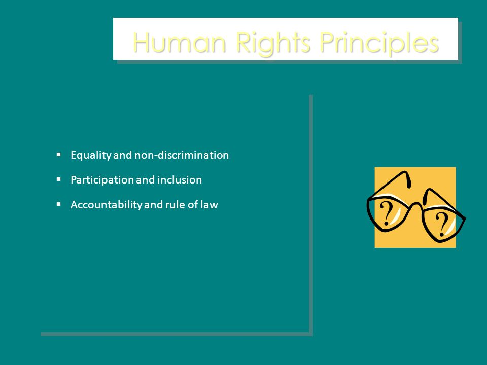 Human Rights Principles Equality and non-discrimination Participation and inclusion Accountability and rule of law Equality and non-discrimination Participation and inclusion Accountability and rule of law
