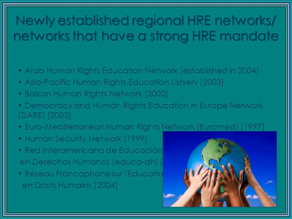 Membership of the Global HRE List (1999-2009) YearMembership 1999290 20001,300 20012,037 20023,013 20033,245 20043,479 (from 150 countries) 20053,571 20063,627 20074,809 20085,384 20096,023 (from 189 countries)