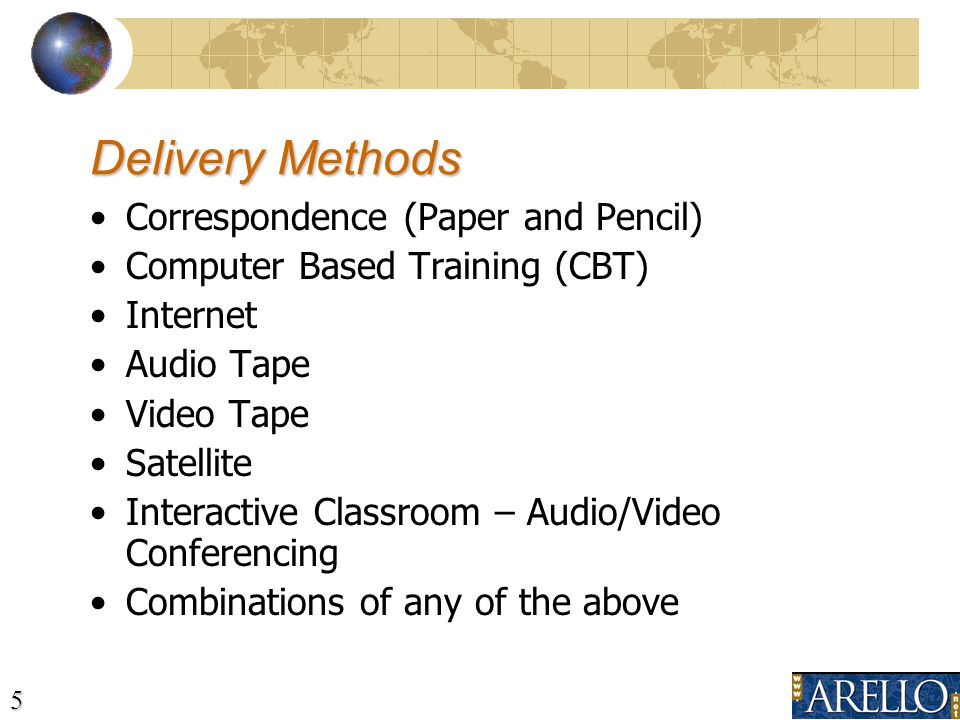 5 Correspondence (Paper and Pencil) Computer Based Training (CBT) Internet Audio Tape Video Tape Satellite Interactive Classroom – Audio/Video Conferencing Combinations of any of the above Delivery Methods