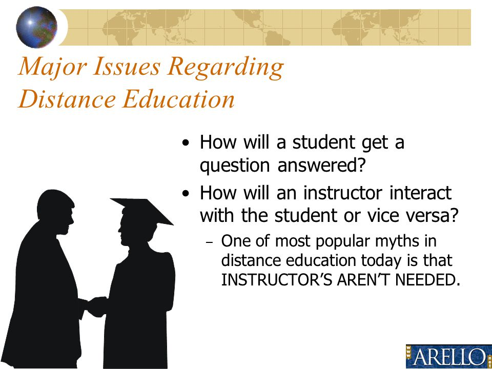 7 Major Issues Regarding Distance Education How will a student get a question answered.