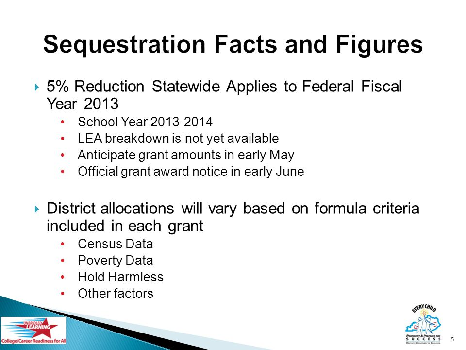 5% Reduction Statewide Applies to Federal Fiscal Year 2013 School Year 2013-2014 LEA breakdown is not yet available Anticipate grant amounts in early May Official grant award notice in early June District allocations will vary based on formula criteria included in each grant Census Data Poverty Data Hold Harmless Other factors 5
