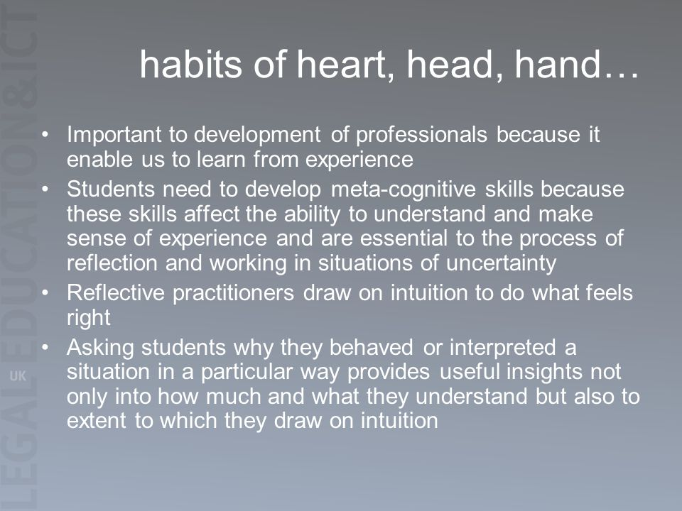 habits of heart, head, hand… Important to development of professionals because it enable us to learn from experience Students need to develop meta-cognitive skills because these skills affect the ability to understand and make sense of experience and are essential to the process of reflection and working in situations of uncertainty Reflective practitioners draw on intuition to do what feels right Asking students why they behaved or interpreted a situation in a particular way provides useful insights not only into how much and what they understand but also to extent to which they draw on intuition