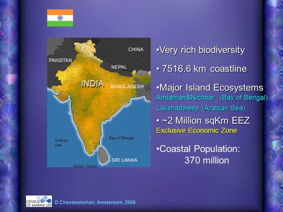 Very rich biodiversityVery rich biodiversity 7516.6 km coastline 7516.6 km coastline ~2 Million sqKm EEZ Exclusive Economic Zone ~2 Million sqKm EEZ E