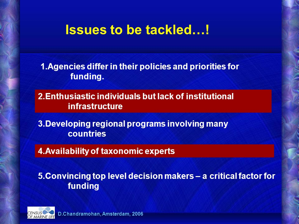 D.Chandramohan, Amsterdam, 2006 Issues to be tackled…! 1.Agencies differ in their policies and priorities for funding. 2.Enthusiastic individuals but