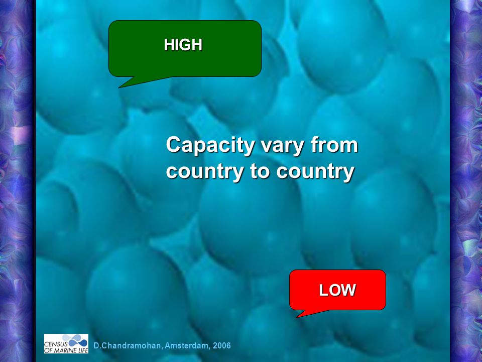 Capacity vary from country to country LOW HIGH D.Chandramohan, Amsterdam, 2006