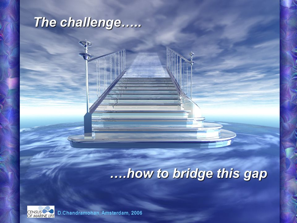 The challenge….. ….how to bridge this gap D.Chandramohan, Amsterdam, 2006