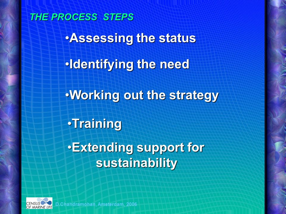 Assessing the statusAssessing the status Identifying the needIdentifying the need Working out the strategyWorking out the strategy TrainingTraining Extending support for sustainabilityExtending support for sustainability D.Chandramohan, Amsterdam, 2006 THE PROCESS STEPS