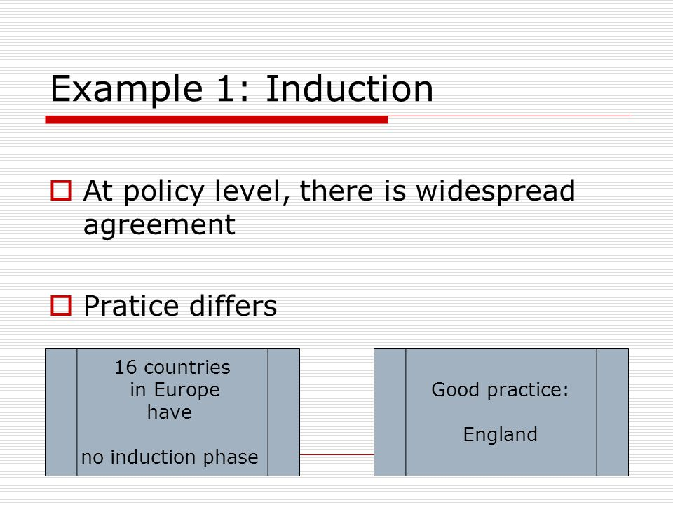 Example 1: Induction At policy level, there is widespread agreement Pratice differs 16 countries in Europe have no induction phase Good practice: England