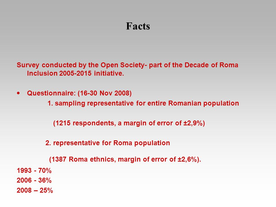 Facts Survey conducted by the Open Society- part of the Decade of Roma Inclusion 2005-2015 initiative.