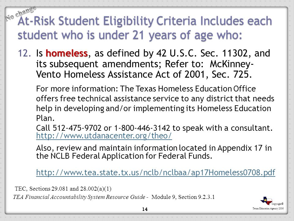 Copyright © Texas Education Agency 2006 At-Risk Student Eligibility Criteria Includes each student who is under 21 years of age who: homeless 12.Is ho