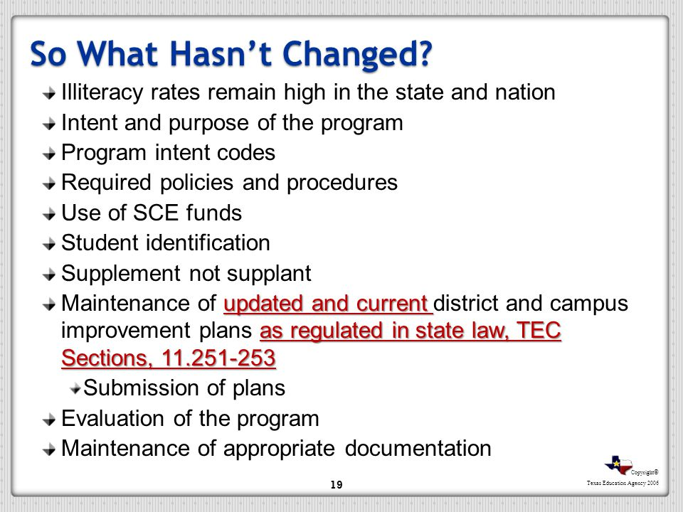 Copyright © Texas Education Agency 2006 So What Hasnt Changed? Illiteracy rates remain high in the state and nation Intent and purpose of the program