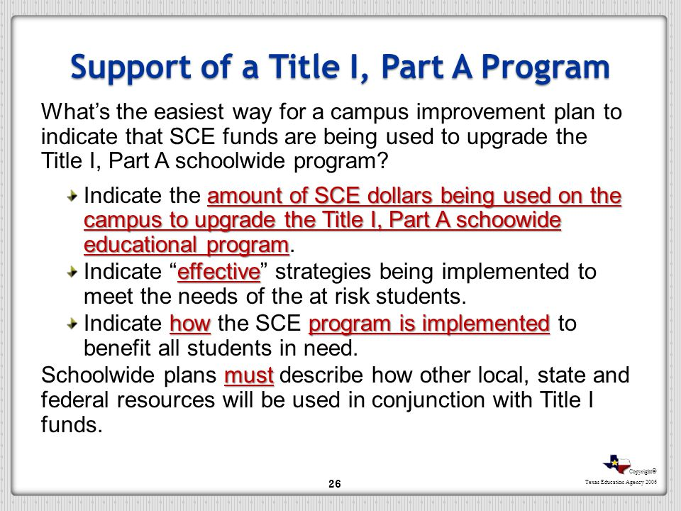 Copyright © Texas Education Agency 2006 Support of a Title I, Part A Program Whats the easiest way for a campus improvement plan to indicate that SCE