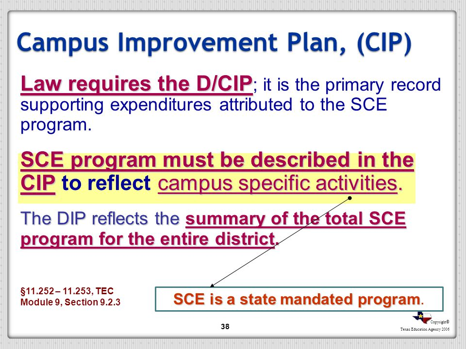 Copyright © Texas Education Agency 2006 38 Campus Improvement Plan, (CIP) Law requires the D/CIP Law requires the D/CIP ; it is the primary record sup