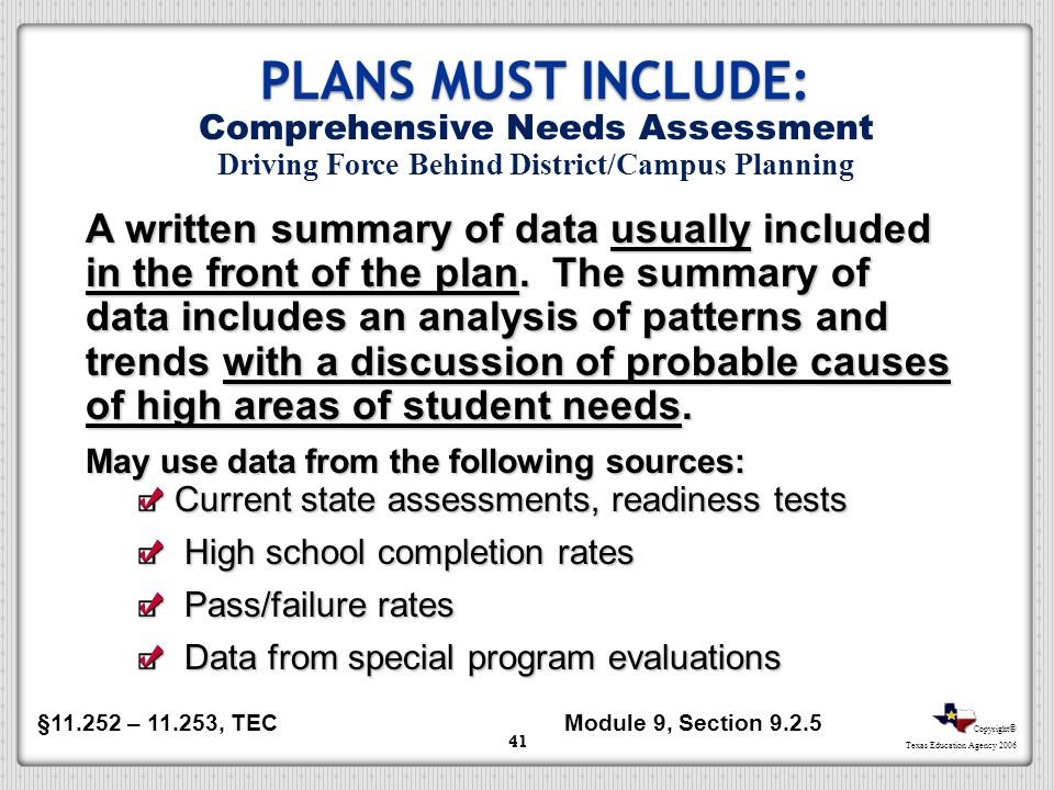 Copyright © Texas Education Agency 2006 41 A written summary of data usually included in the front of the plan. The summary of data includes an analys