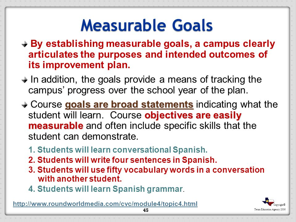 Copyright © Texas Education Agency 2006 Identified Strategies Measurable Goals By establishing measurable goals, a campus clearly articulates the purp