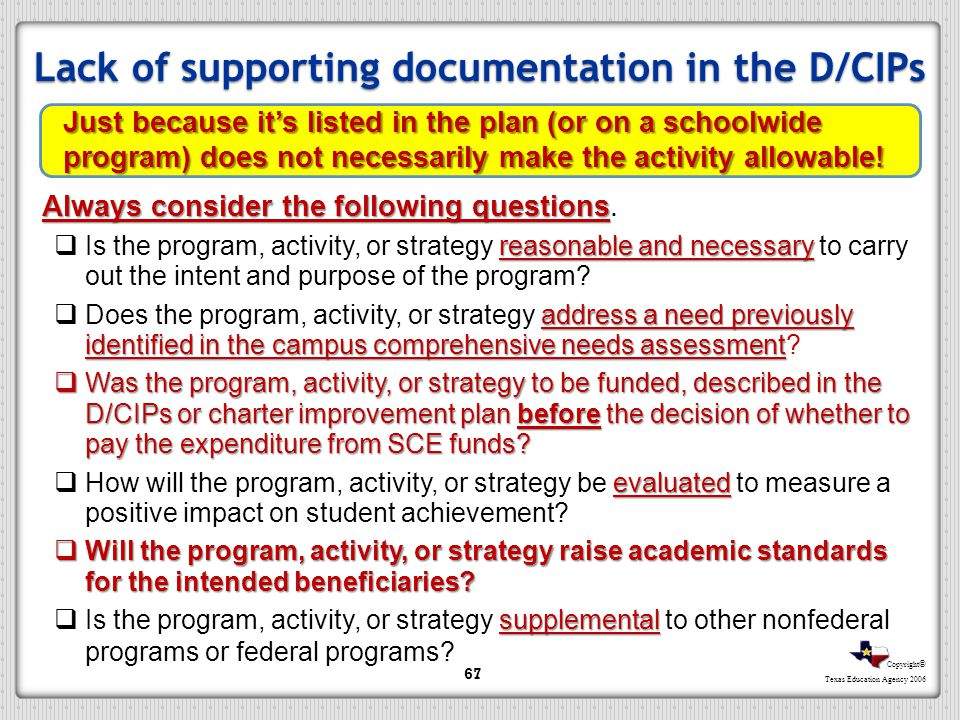 Copyright © Texas Education Agency 2006 Lack of supporting documentation in the D/CIPs 67 Just because its listed in the plan (or on a schoolwide prog