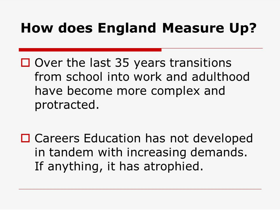 How does England Measure Up.